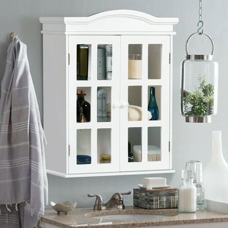 Wall-Mount Bathroom Storage Cabinet Medicine Organizer Double Doors Shelved -