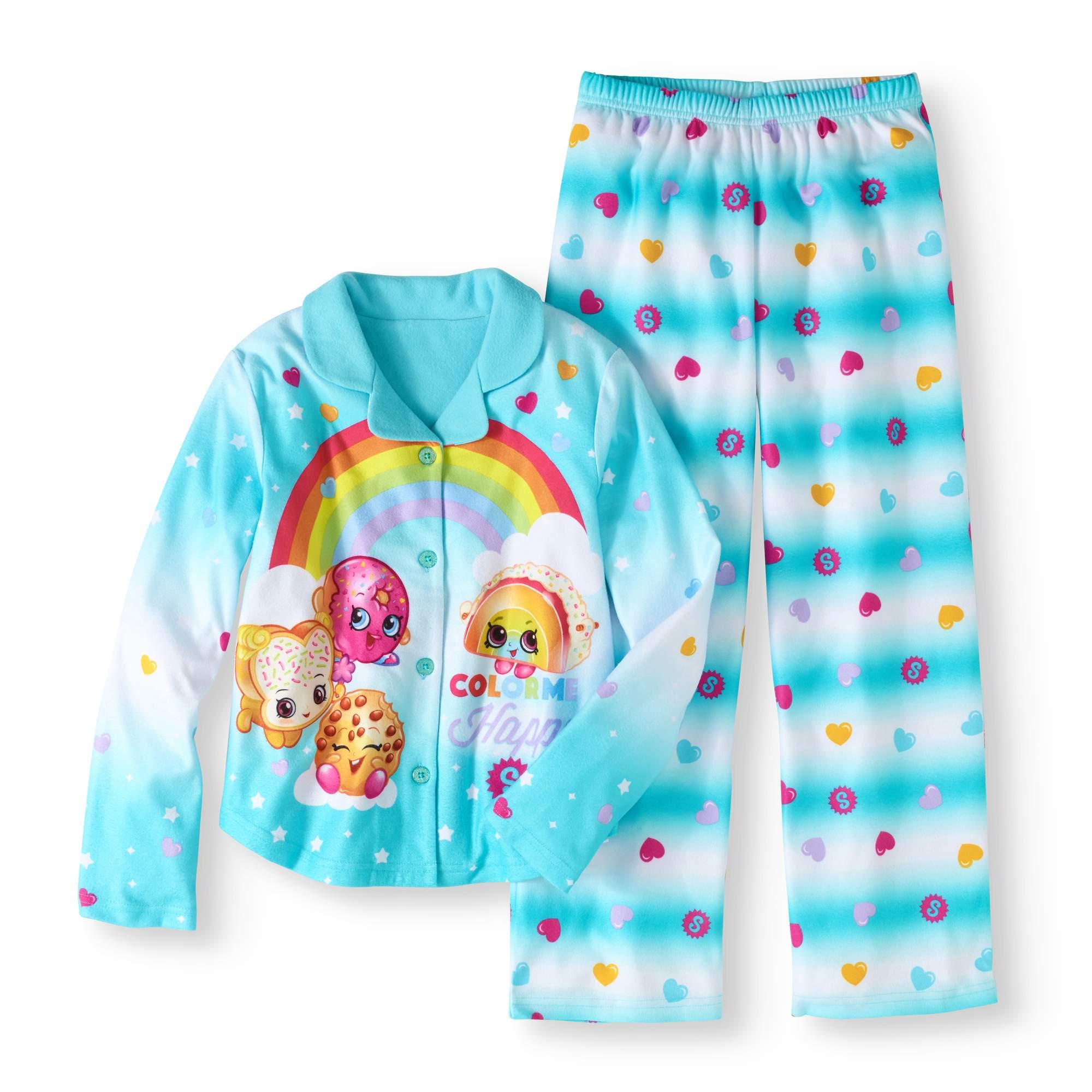 Girls' Button Down Top and Bottom Pajama 2-Piece Set