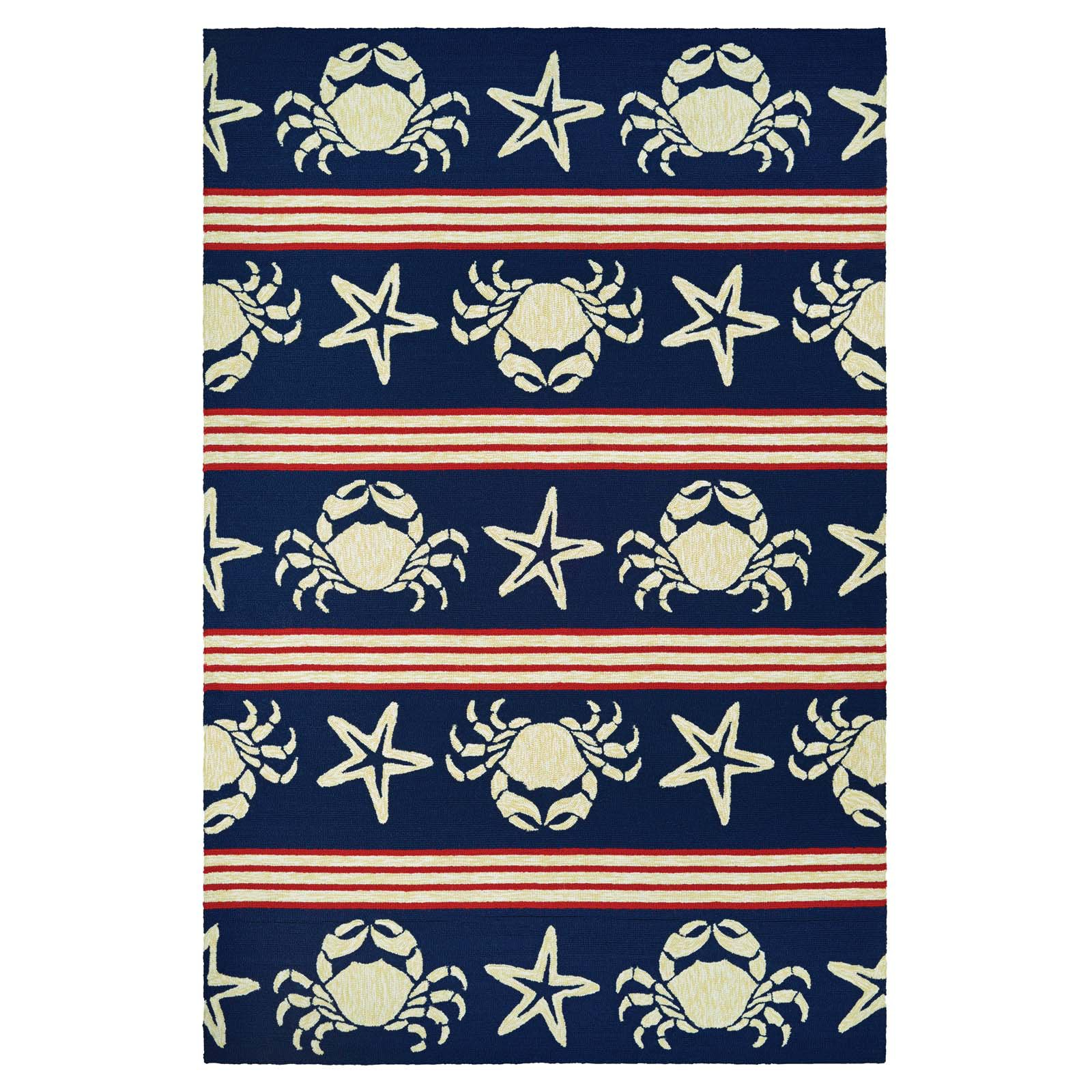 Couristan Outdoor Escape Blue Claws Navy Indoor/Outdoor Runner Rug