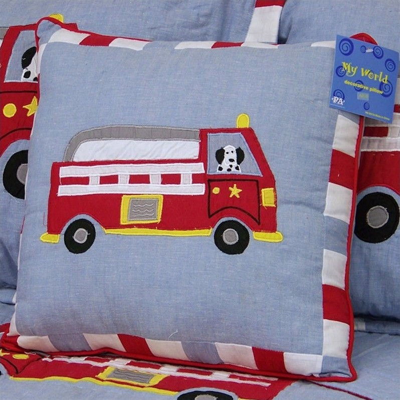 PEM America Cotton Fire Truck Pillow in Red and Blue