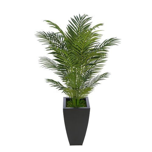 Bay Isle Home Artificial Floor Areca Palm Tree in Black Tapered Square Zinc