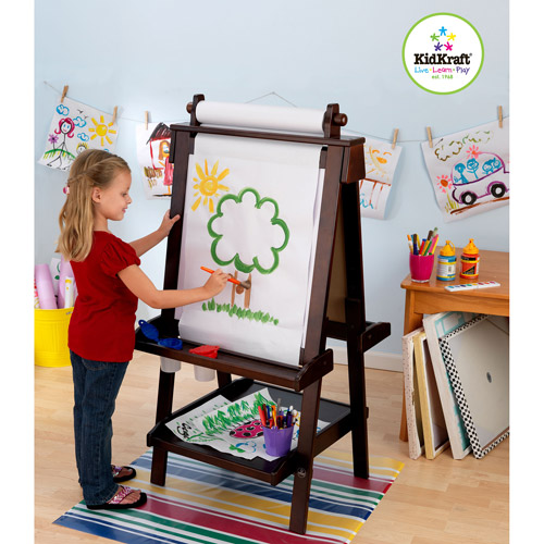 KidKraft Deluxe Wooden Easel, Espresso Finish with a Paper Roll, Two Anti-Spill Paint CUps, a Chalkboard and a Whiteboard