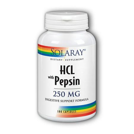 Solaray HCL with Pepsin 250 mg - 180 Capsules
