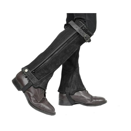 - Adult & Kids Suede Leather Half Chaps Zipper & Elastic for Horse Riding or Motorcycle Use - Black / Small
