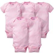 Gerber Newborn Baby Girl Short Sleeve Crafting Onesies Bodysuits, 5-pack