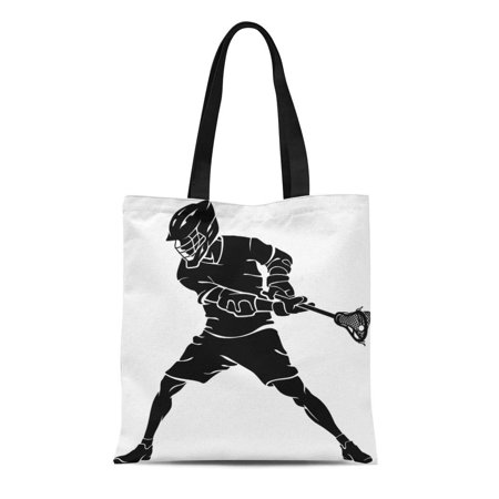 Albert Bag - SIDONKU Canvas Tote Bag Player Lacrosse Defense Stance Action Active Alert Athlete Elbow Reusable Shoulder Grocery Shopping Bags Handbag