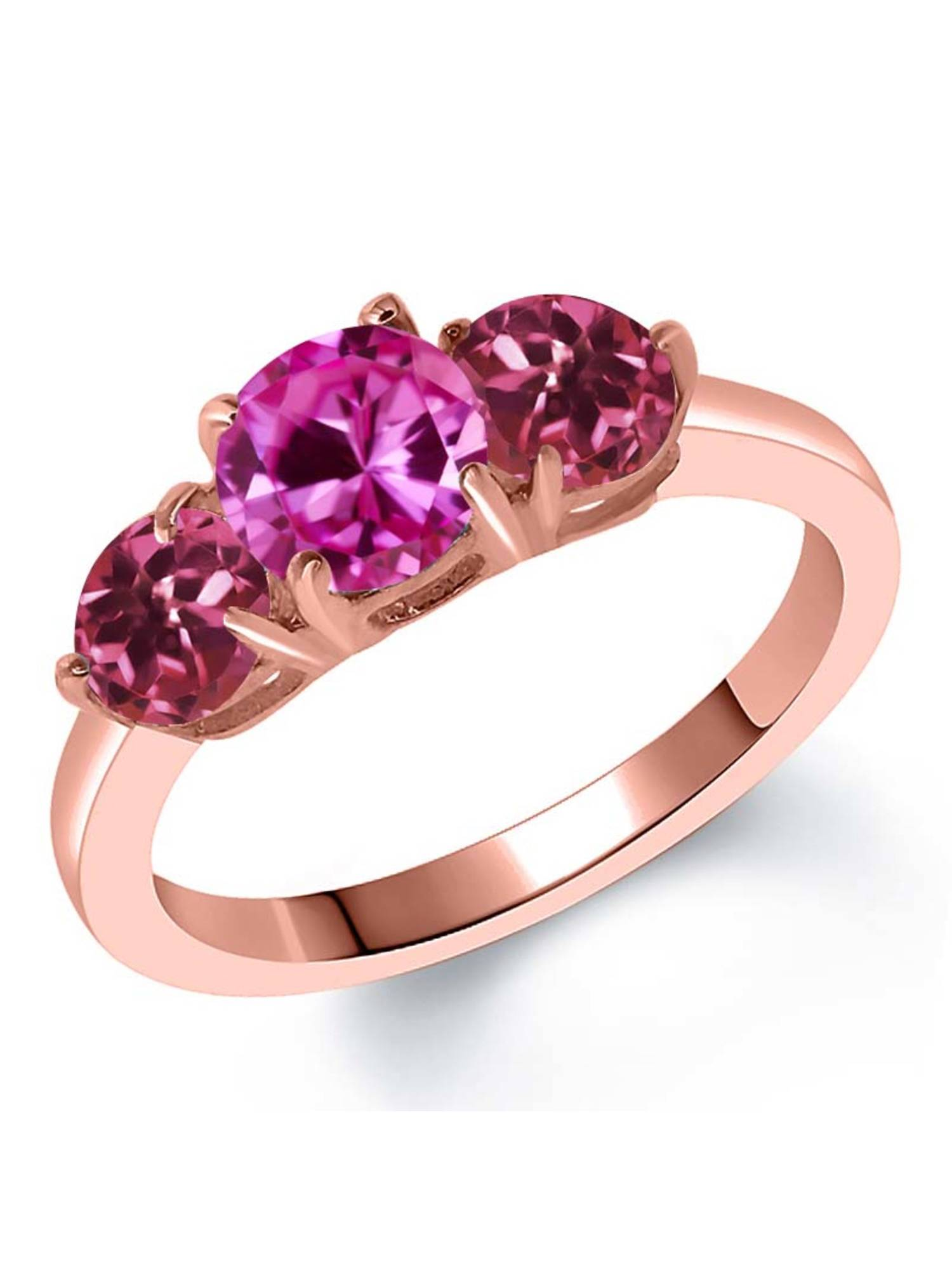 2.00 Ct Pink Created Sapphire Pink Tourmaline 18K Rose Gold Plated Silver Ring by
