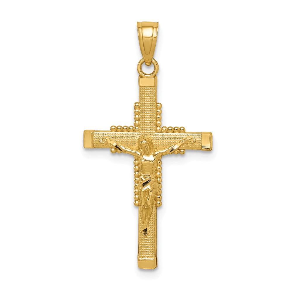 14k Yellow Gold Textured Crucifix Pendant