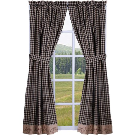 Berry Vine Check Lined Curtain Panels - Red or Black (Berry Curtains)