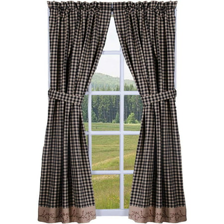 Berry Vine Check Lined Curtain Panels - Red or (Berry Curtain)