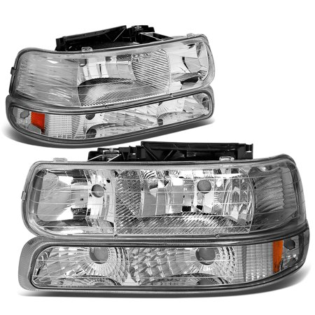 For 1999 to 2006 Chevy Silverado / Tahoe 4Pcs Headlight + Bumper Lamps Chrome Housing Amber Side - GMT800 00 01 02 03 04 05 (Chevrolet Silverado Truck Headlight Headlamp)