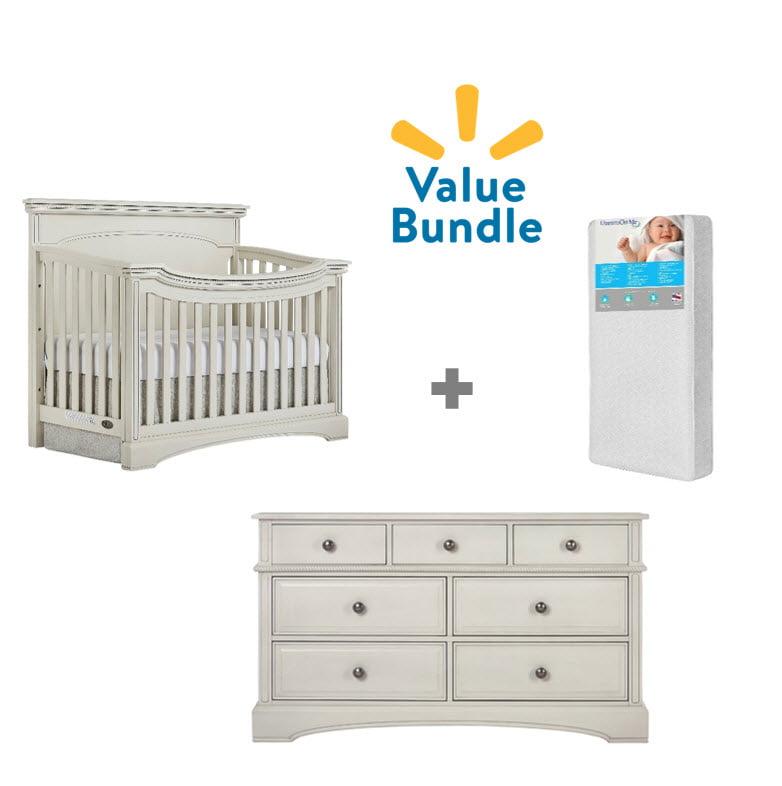 Evolur Catalina Flat Top Crib  + Dresser + Mattress