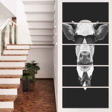 Design Art 'Funny Cow in Suit with Glasses' 5 Piece Graphic Art on Wrapped Canvas Set](Cow Suit)