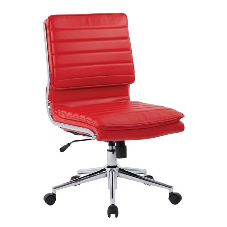 Armless Mid Back Manager's Faux Leather Office Chair in Red with Chrome Base Black Manager Office Chair