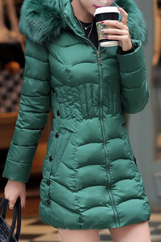 Women High Neck Solid Long Sleeve Jacket