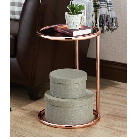 Furniture of America Caenes Contemporary End Table in Rose -