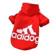 Pet Puppy Dog Cat Coat Clothes Hoodie Sweater Costumes Red XS