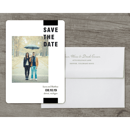 Personalized Wedding Save the Date Card - Bold Stripe - 5 x 7 Flat Deluxe