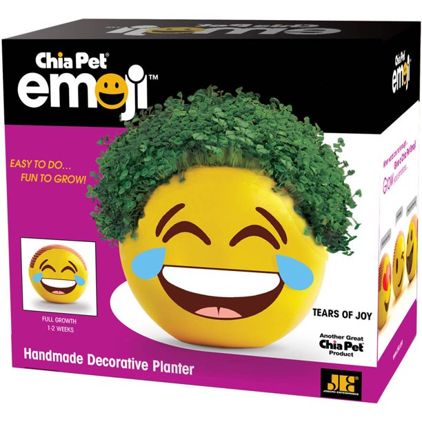 Chia Pet Tears of Joy Emoji Handmade Decorative Pottery Planter, Easy to Do and Fun to Grow, Novelty Gift As Seen on TV