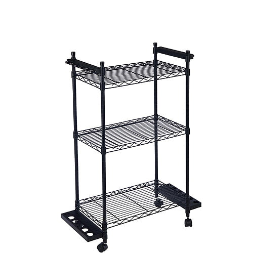 Fishing Pole Caddy Portable Wire Shelf Rack Cart Trolley Wheeled ...