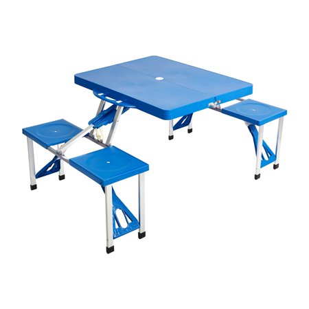 KARMAS PRODUCT Portable Folding Picnic Table with 4 Seats Bench,Lightweight Indoor/Outdoor Camping Suitcase Table w/ Umbrella Hole,Blue ()