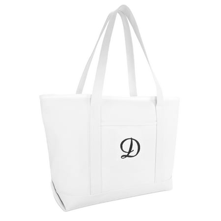 DALIX Large Canvas Tote Bag for Women Work Bag Beach Totes Monogrammed White D