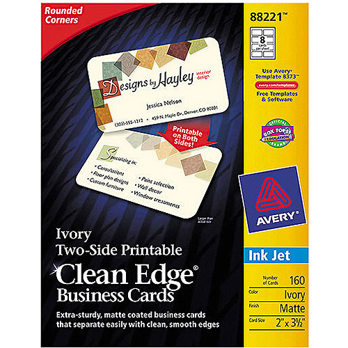 Avery Two-Side Printable Clean Edge Rounded Corner Inkjet Business Cards 88220, White, Matte, Pack of 160
