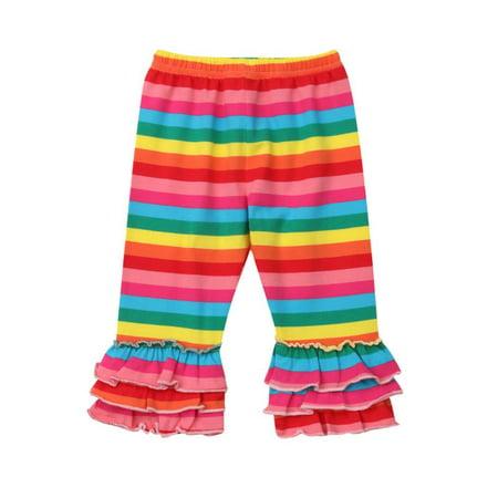 Toddler Kids Baby Girl Ruffle Leggings Striped Rainbow/Mermaid Bell-Bottom Cotton Long Pants - Ruffle Leggings Girls