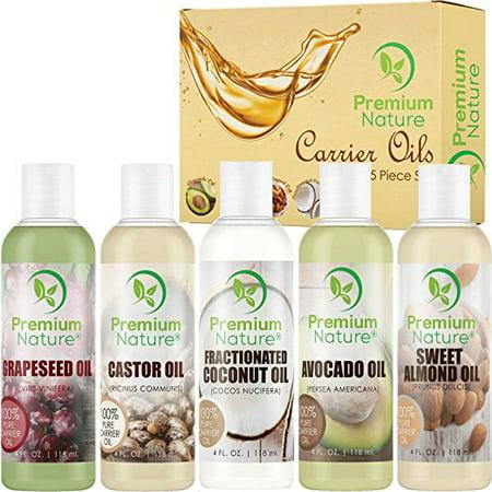 Premium Nature Carrier Oil Gift Set of Five Variety Pack Coconut Oil Castor Oil Grapeseed Oil Avocado Oil Almond Oil 4 oz
