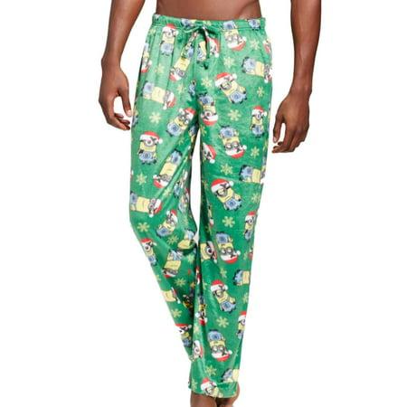87e4f26ada9c Despicable Me - Despicable Me Mens Green Fleece Christmas Minion Holiday Sleep  Pants - Walmart.com