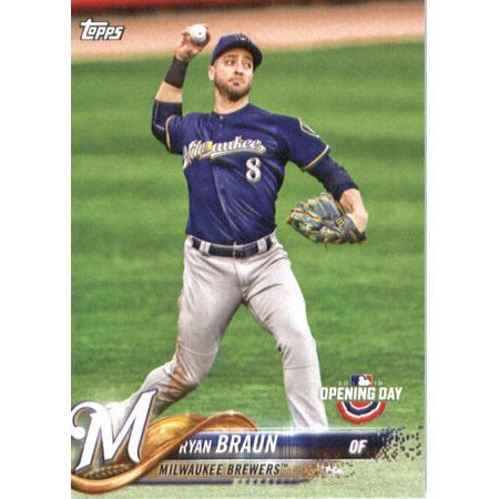 2018 Topps Opening Day 62 Ryan Braun Milwaukee Brewers Baseball Card Walmartcom