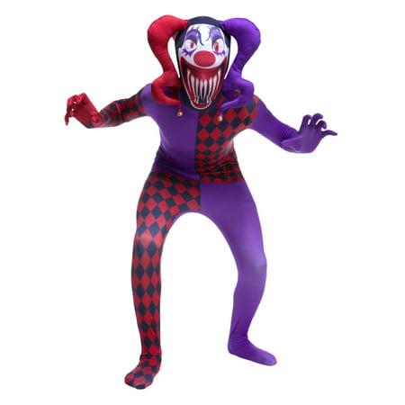 Boys Evil Jester Morph Costume Halloween Bodysuit Clown Bodysuit Medium 8-10  - Size - Medium 8-10