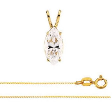 Marquise Diamond Solitaire Pendant Necklace 14k Yellow Gold ( 1.53 Ct, I-J, SI3(Laser Drilled) IGL Certified) (Marquis Diamond Pendant)