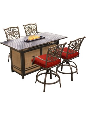 Hanover Traditions 5-Piece High-Dining Set in Red with 4 Tall Swivel Chairs and a 30,000 BTU Fire Pit Dining Table