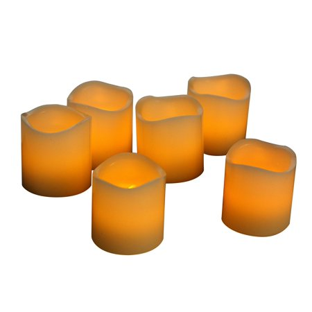 EcoGecko Set of 6 Real Wax LED Flameless Candles With Timer - Votive - Votive Wax Tumbler