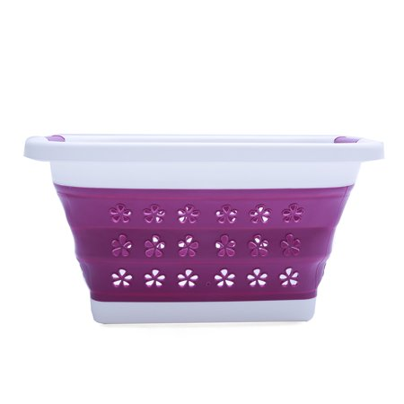 Wedlies Collapsible Large Plastic Laundry Basket Storage Container Organizer Foldable Portable Washing Tub Space Saving Hamper Basket Purple ()