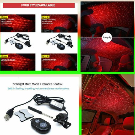 Car Starry Sky Red LED Light USB Atmosphere Lamp Interior Ambient Ceiling Rock Decorative Lamp with Remote Control - image 6 of 8