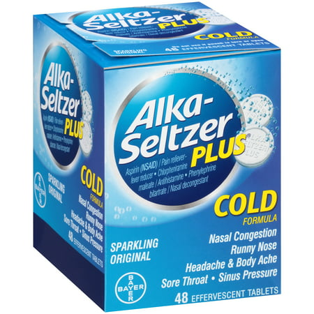 Alka-Seltzer Plus Cold Formula Effervescent Tablets, Original, 36 Ct