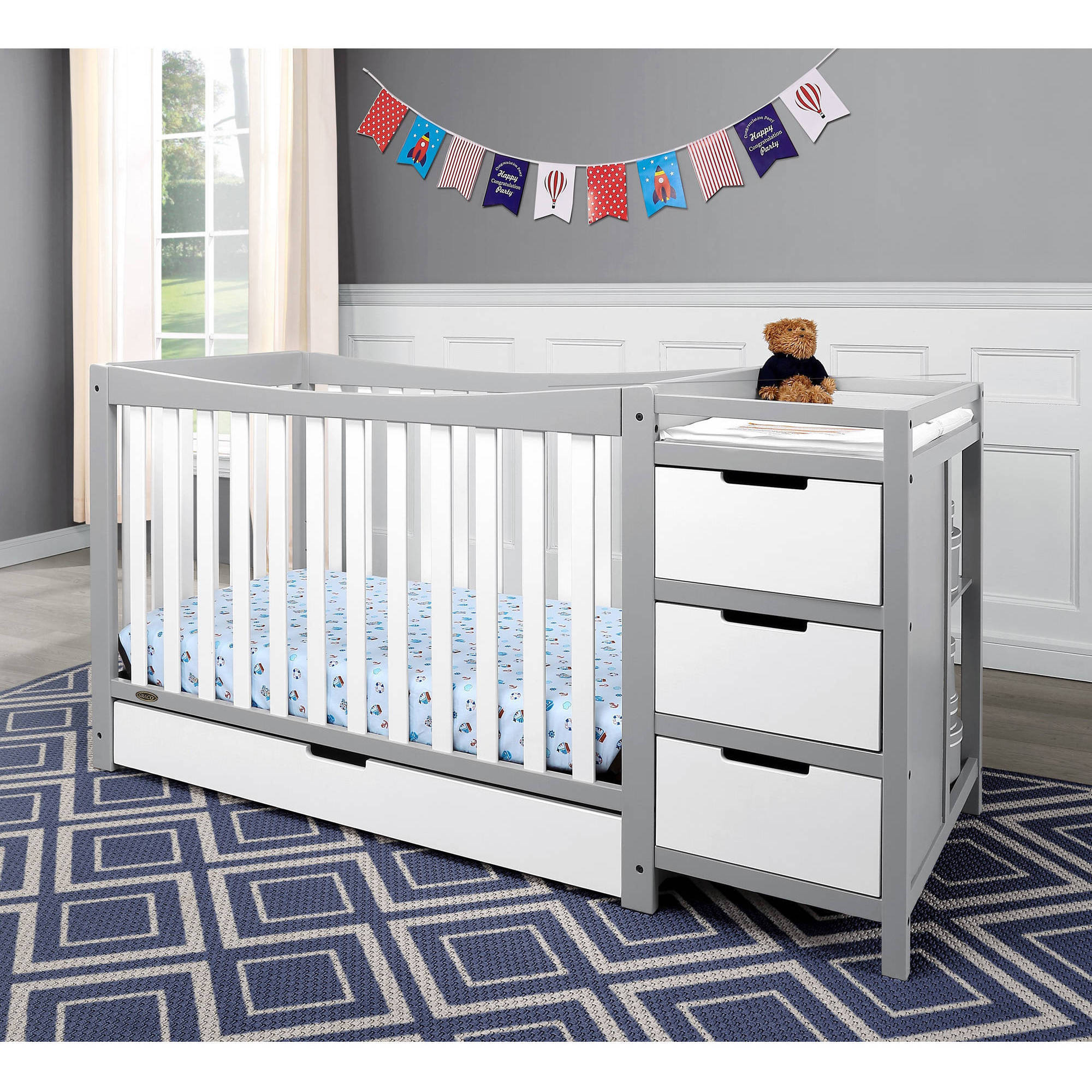 Graco Remi 4 in 1 Convertible Crib and Changer Combo White Gray ...