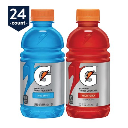 (Gatorade Thirst Quencher Sports Drink Variety Pack, Fruit Punch and Cool Blue, 12 oz Bottles, 24 Count)