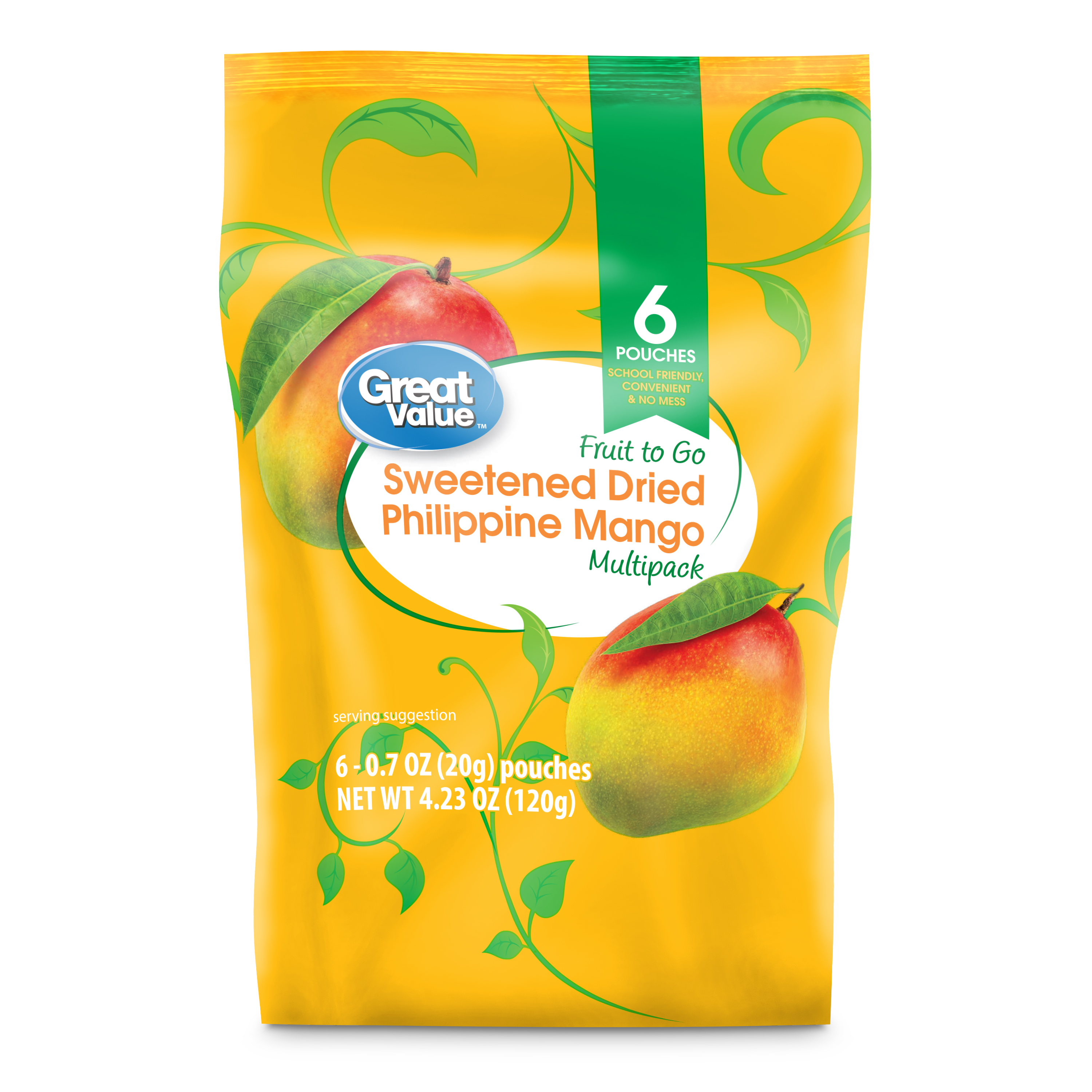 Great Value Fruit to Go Multipack, Sweetened Dried Philippine Mango, 4.23 oz, 6 Count