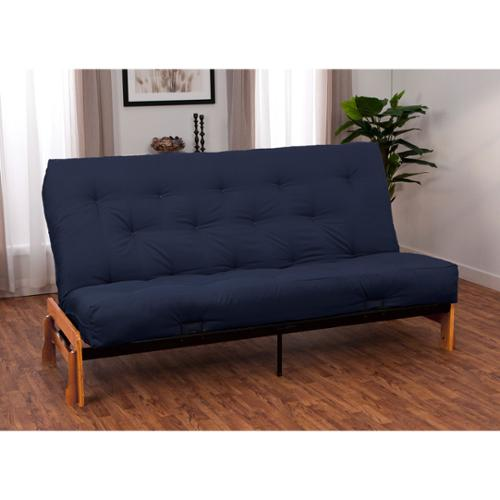 Boston Queen Armless Futon Frame/ Premier Mattress Set Sleeper Bed Boston Medium Oak Finish Frame Premier Navy Blue Queen Futon Mattress