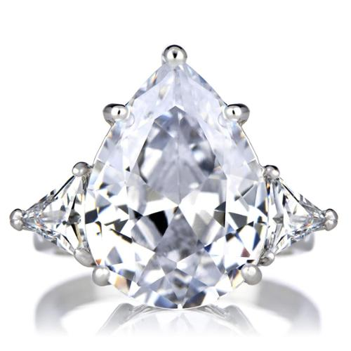 Sterling Silver Cubic Zirconia Pear Cut 3 Stone Ring Size 12