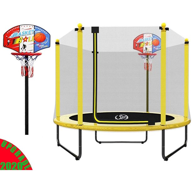 Langxun 60 Trampoline For Kids 5ft Outdoor Indoor Mini Toddler Trampoline With Enclosure Basketball Hoop