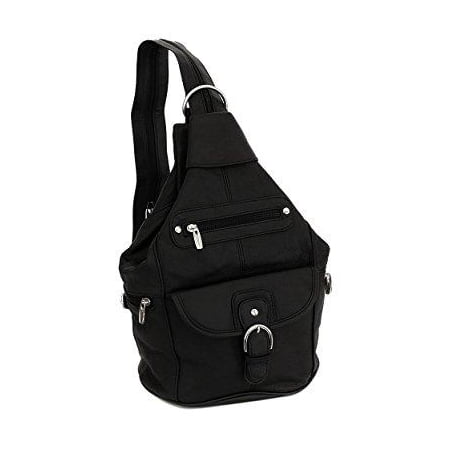 Womens Leather Convertible 7 Pocket Medium Size Tear Drop Sling Backpack Purse Shoulder Bag Black