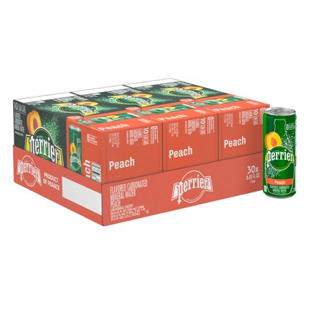 Perlier Peach (Perrier Peach Flavored Carbonated Mineral Water, 8.45 fl oz. Slim Cans (30 Count))