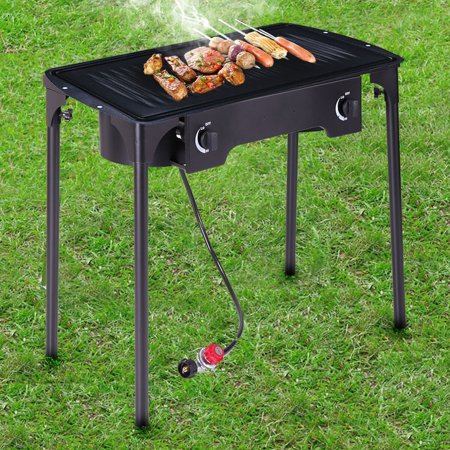 Lazymoon Double Burner Gas Stove Cooking Stand Camping Patio Grills Black