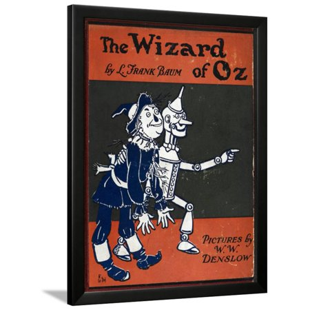 Illustrated Front Cover For the Novel 'The Wizard Of Oz' With the Scarecrow and the Tinman Framed Print Wall Art By William Denslow - Scarecrows For Sale