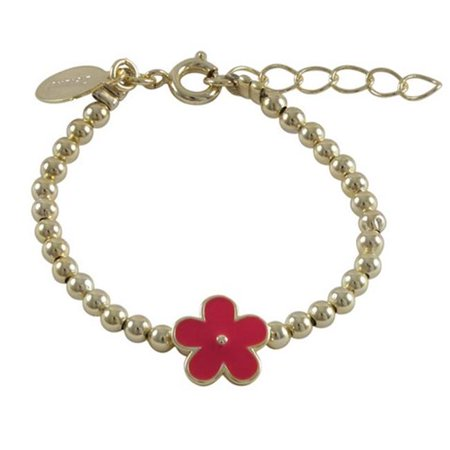 Dlux Jewels Gold Plated Brass 3mm Balls Bracelet with Red Enamel 10 mm Flower, 4.5 x 1 in. - image 1 of 1