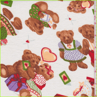 White Multi Bear Print Flannel, Fabric By the Yard